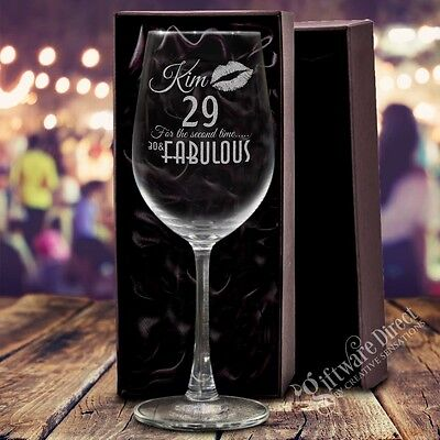 For sale Personalised Engraved 350ml Premium Wine Glass Birthday Gift 21st 30th 40th 50th
