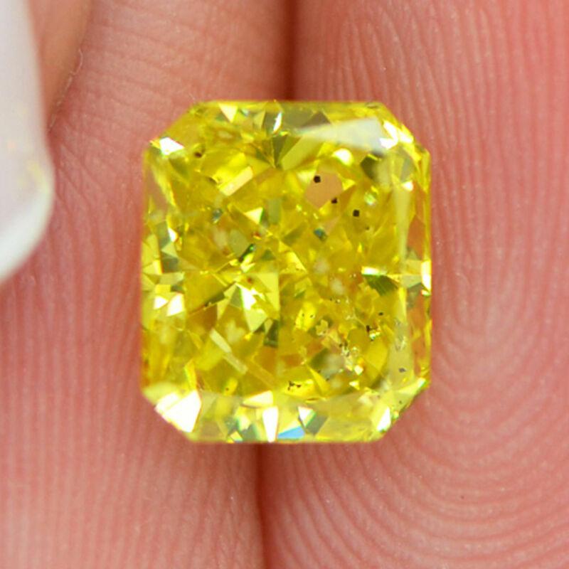 Loose Yellow Diamond Fancy Color Radiant Shape 1.59 Carat Si1 Natural Enhanced