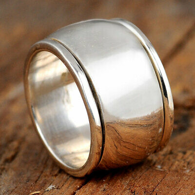 Spinner Dome Ring Sterling Silver Women Simple Band Wide Statement Size 6 7 8 9