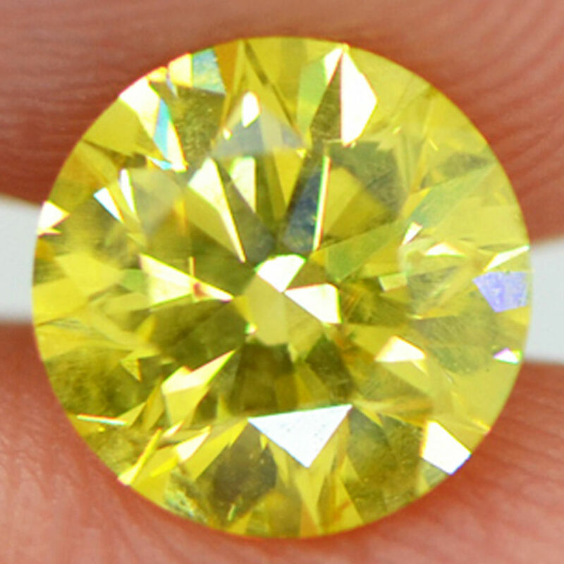 Loose Round Shape Diamond Fancy Yellow Color Si1 Certified Enhanced 1.09 Carat
