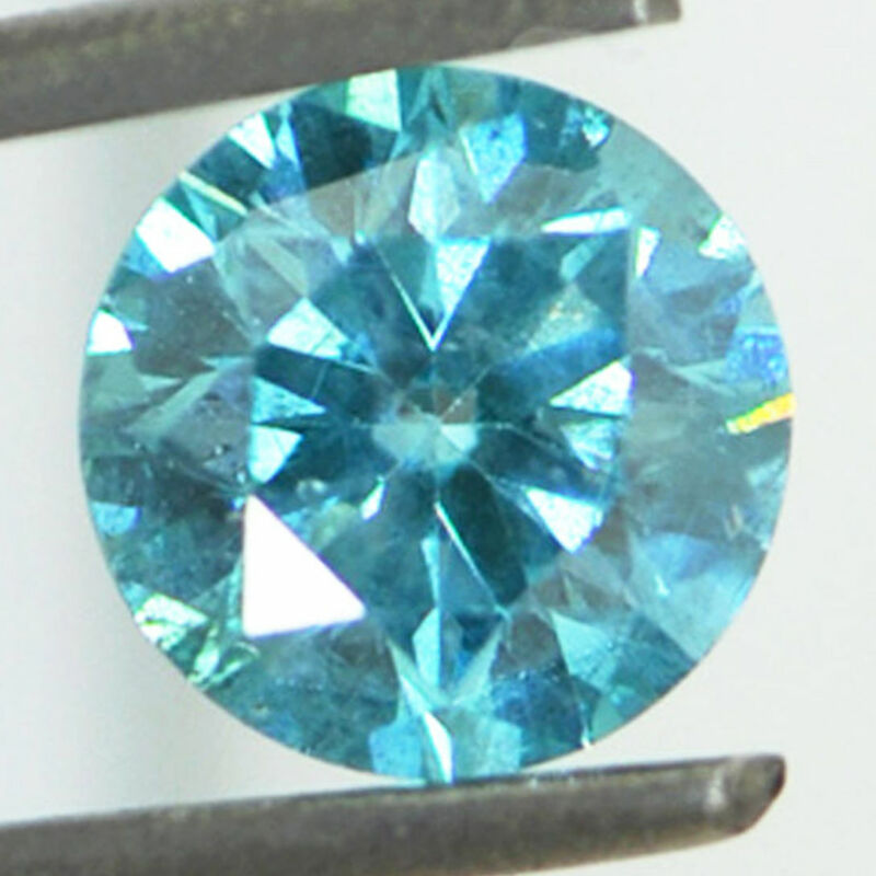 Loose Round Shaped Diamond Fancy Blue Color SI2 Natural Enhanced Real 1.13 Carat