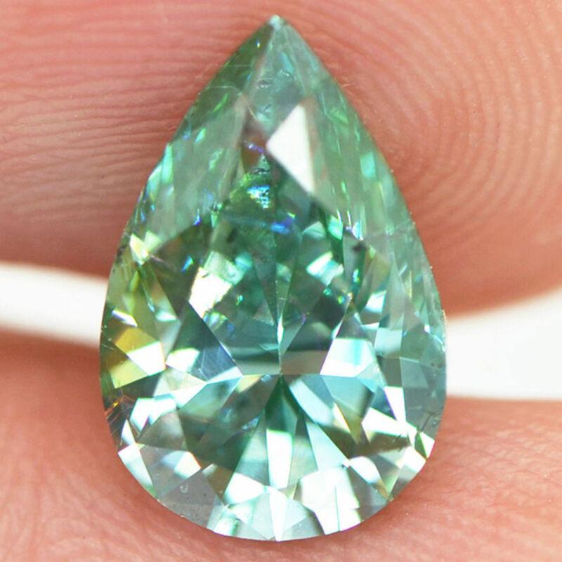 Pear Shape Diamond Fancy Green Color VS2 Certified Natural Enhanced 2.70 Carat