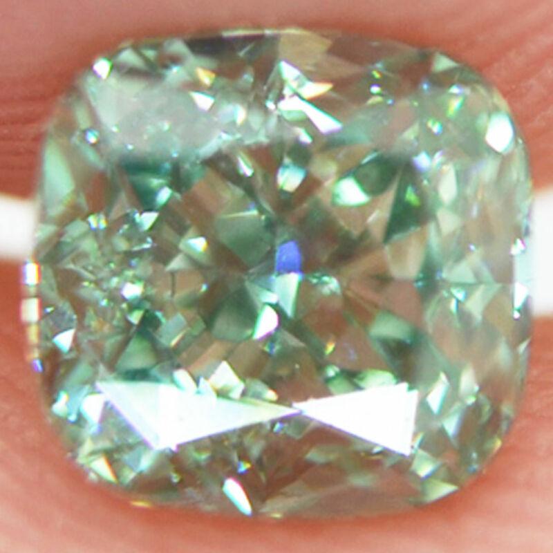 Loose Cushion Cut Diamond Fancy Green SI1 Certified Natural Enhanced 1.01 Carat