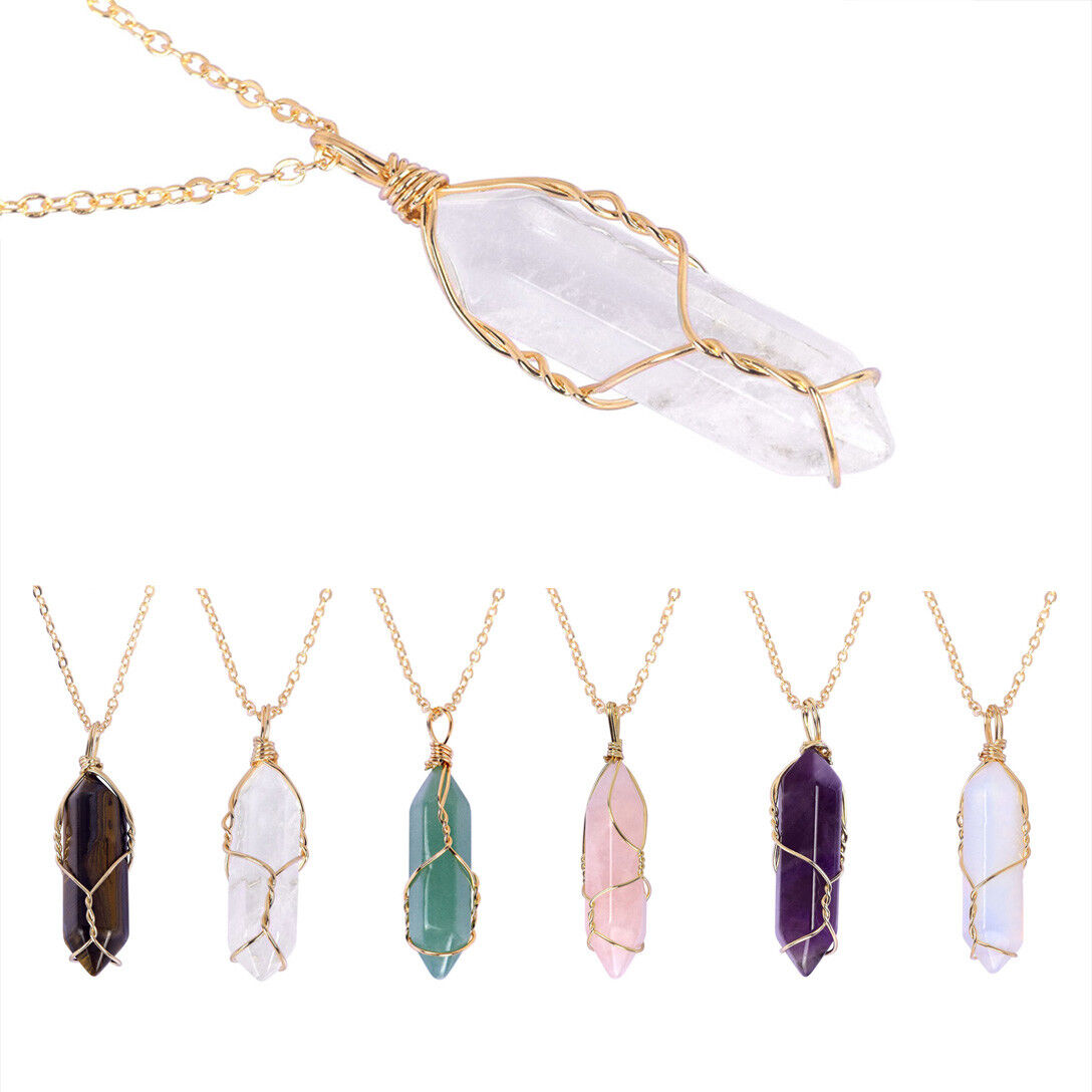 Jewellery - Hexagonal Prism Natural Quartz Crystal Chakra Healing Point Pendant Necklace New