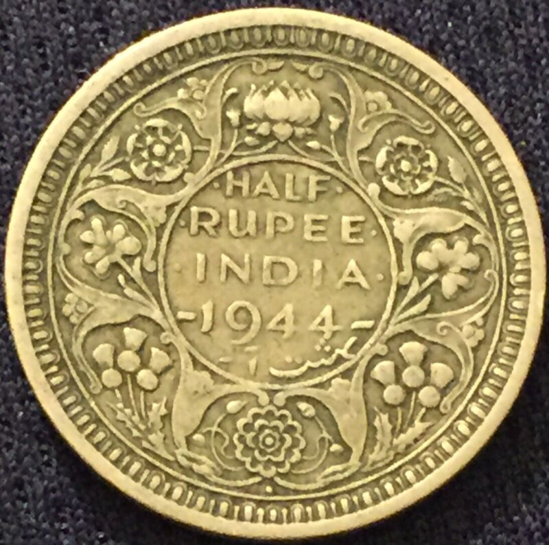 British India 1944-Bombay Mint SILVER HALF RUPEE COIN Circulated-Please See Pics