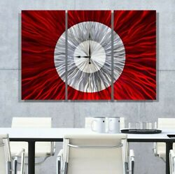 MASSIVE STUNNING Metal Wall Clock Art Modern Red Silver Painting Decor Jon Allen