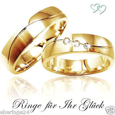 2 Trauringe Eheringe Partnerringe Gold 585 mit 3 Diamanten + Gravur + Etui C271