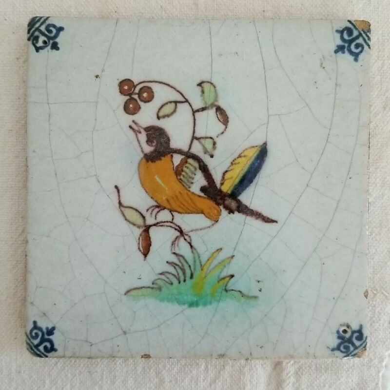 Antique Delft Tile Bird Robin Fruit 19th Century With Antique Stand