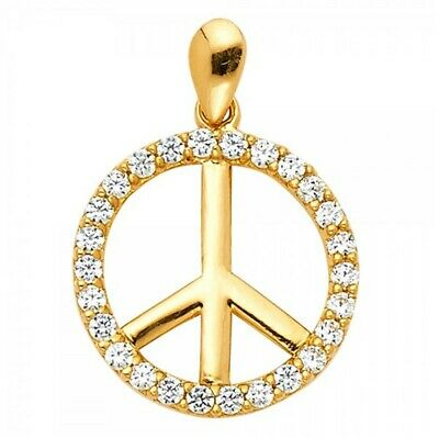 14k Yellow Gold Peace Sign Pendant Zirconia Stone Charm Necklace Love Medalla -