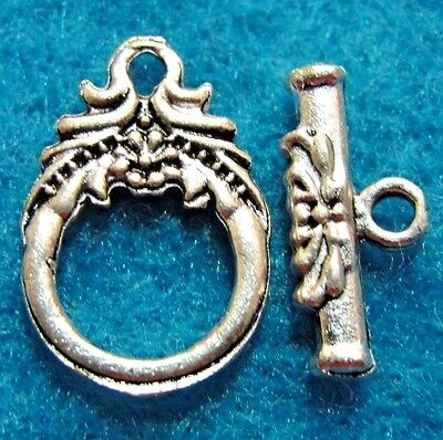 10Sets Tibetan Silver FLOWER Toggle Clasps Hooks Connector Jewelry Findings C232