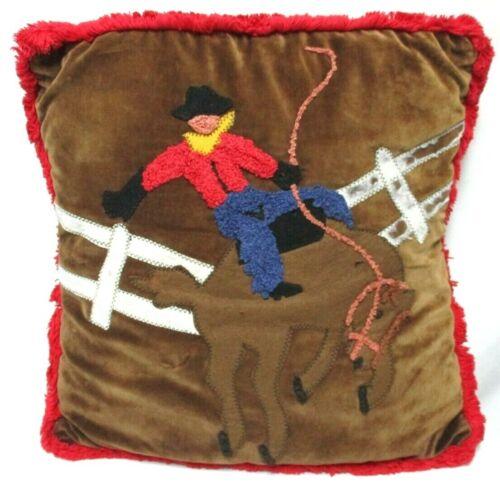 Cindy Owens Designs Vintage velvet embroidered needlepoint Cowboy Western Pillow