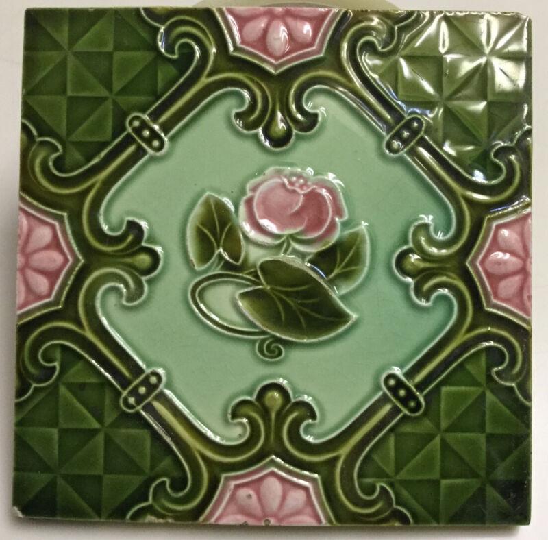 """🟢 Antique England Art Nouveau Floral Green 6"""" Tile"""