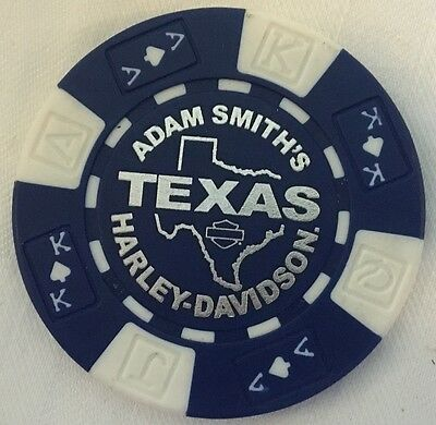 TEXAS HARLEY DAVIDSON POKER CHIP (BLUE & WHITE) BEDFORD, TX ** CLOSED **