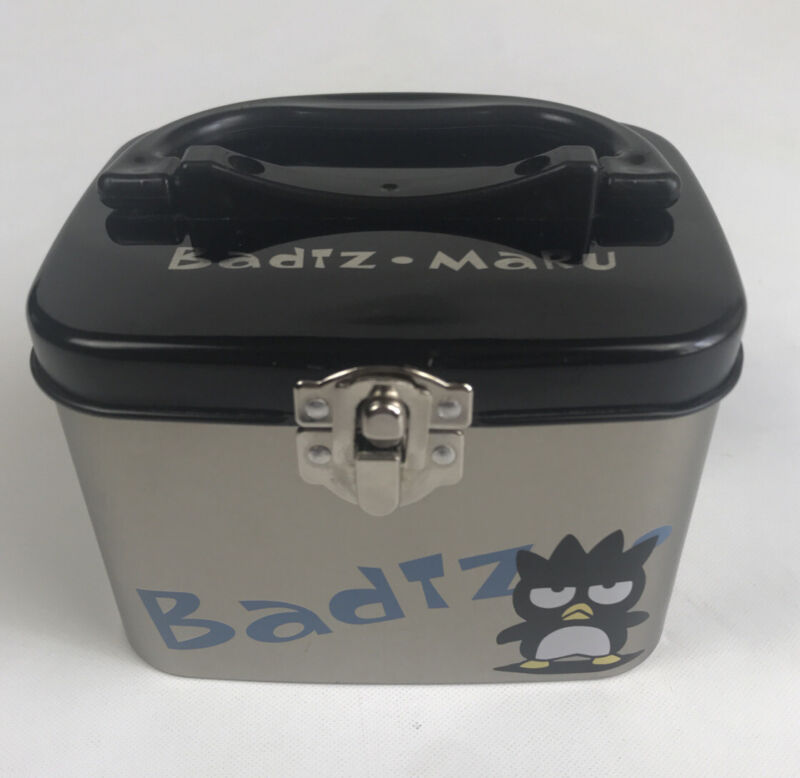 Vintage 1990s Sanrio Badtz-Maru Hana Black & Silver Stash Trinket Storage Box