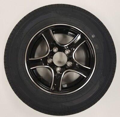 2-Pk Trailer Tires & Rims ST175/80R13C T-Bred 1360# 13X4.5 5-4.5 Aluminum Black