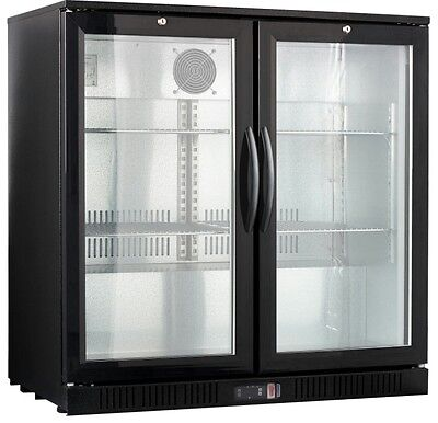 Counter Height 2-door Back Bar Beverage Cooler Glass Front Beer Fridge 36 Wide