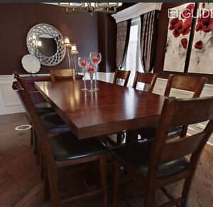 Solid wood dinning table with hutch and 8 chairs