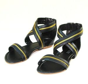 New-Women-Criss-Cross-Zipper-Strip-Flat-Sandal-Shoes-Size