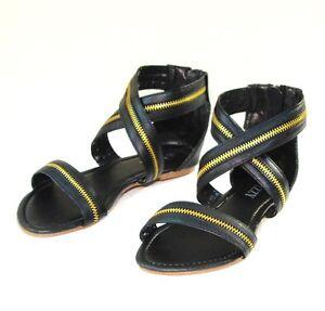 New-Women-Criss-Cross-Zipper-Strip-Flat-Sandal-Shoes-Size