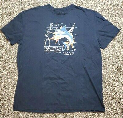 NAUTICA Navy Blue Graphic Logo Crewneck T Shirt XXXL 3XL NWT Mens Fish