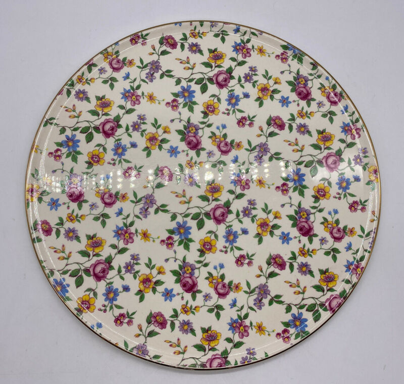 Royal Tudor Ware Barker Bros 11 Inch Cake Plate Chintz Vintage Made In England