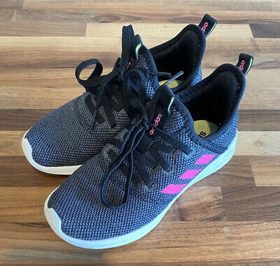 Adidas Cloudfoam Girls Shoes Sneakers Gray Pink Youth Size 1