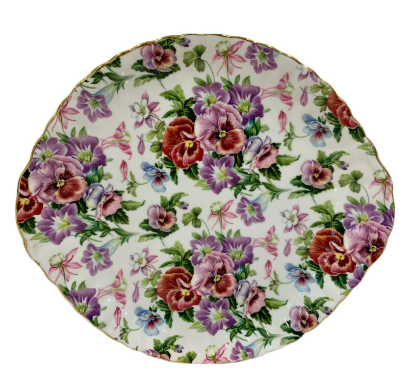 Chintz Collection Royale Garden Staffordshire Cake Plate Serving Platter 10.5""