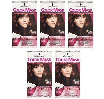 5x Schwarzkopf Color Mask Permanent Colour 586 Warm Mahogany