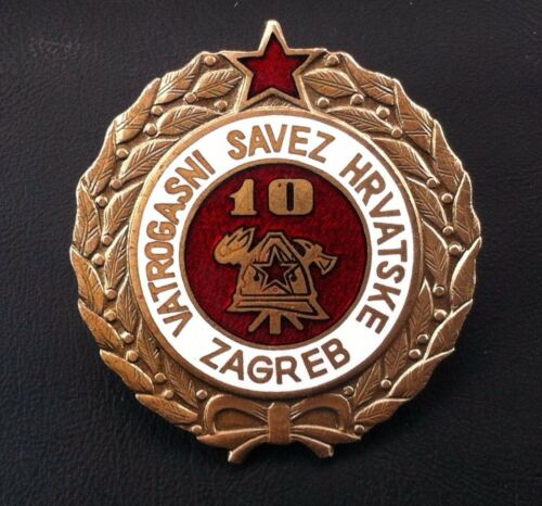 Croatia badge 10 year serviceFirefighting  medal Yugoslavia SFRJ - rarre medal !