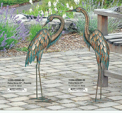 Small Bird Statuary - PATINA HERON UP & DOWN SET OF 2 REGAL ART & GIFT 11294-5