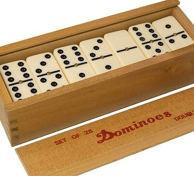 Double Six Club Pub League Dominoes with Spinners - Set of 28 in Wooden Box UK