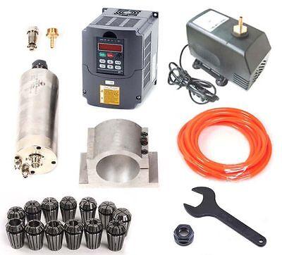 CNC 2.2KW Spindle Motor 220V + Inverter Driver VDF + ER20 collet + Water Pump
