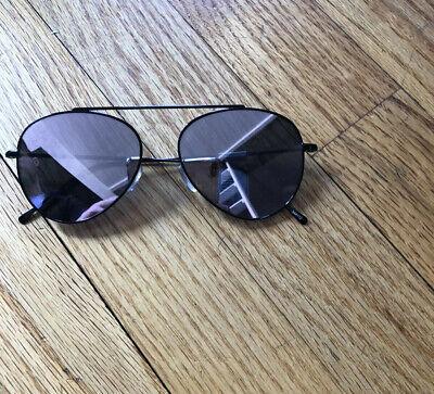 Illesteva Aviator Dorchester Black with Rose Flat Mirror Lenses