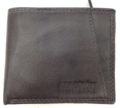 70 Kenneth Cole Mens Brown Leather Bifold 6Cc Rfid Id Credit Card Zipper Wallet