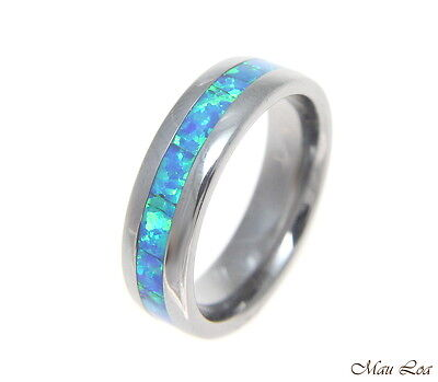 Tungsten 6mm Wedding Band Ring Unisex Blue Opal Inlay Comfort Fit Size 5-13 Blue Opal Inlay Ring