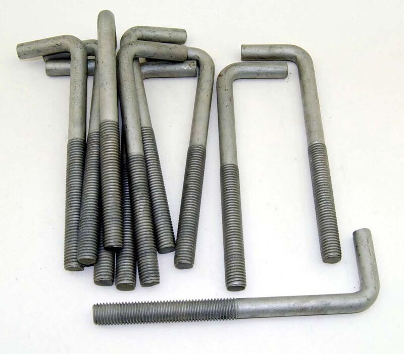 "(10) Concrete Bent Anchor Bolts 5/8-11 x 8"" Hot Galvanized"