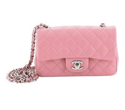Auth Chanel Classic Single Flap Bag Quilted Lambskin Mini Pink - 100% Authentic Quilted Lambskin Single Flap