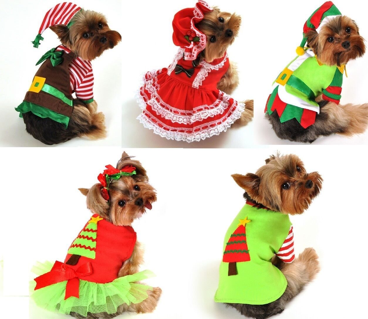 Pet Dog Cat Christmas Santa Elf Gift Fancy Dress Costume Outfit ...