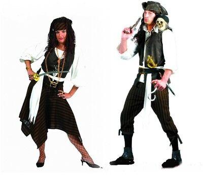 Karibik Pirat Piratin Patner  Damen o. Herren Kostüm Braun schwarz (Karibik Piraten Kostüm Herren)