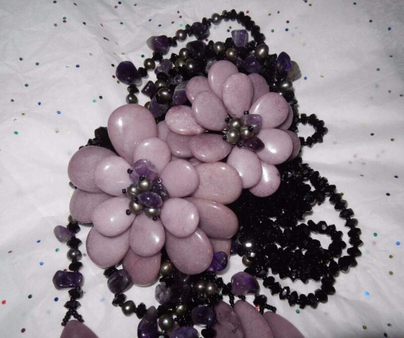 """NICE Necklace with amethyst - natural stone, very long - 23"""""""