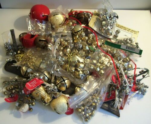 Big Lot 3+lbs MOSTLY NEW Metal Craft Jingle Bells Assorted Sizes, Colors, Styles