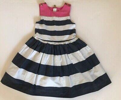 Isaac Mizrahi New York Girls Dress Size 6X Navy White Stripe Pink Bodice Trim