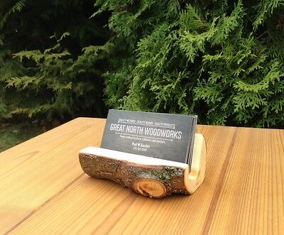 Desktop Business Card Holder - Solid Cedar - Rustic