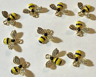 Lot of 10 Goldtone Darling Rhinestone and Enamel Bumble Bee -