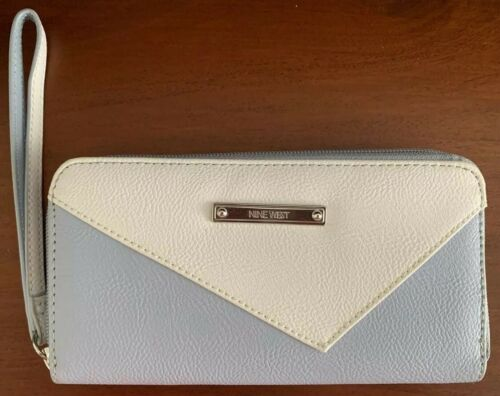 wallet light blue and white
