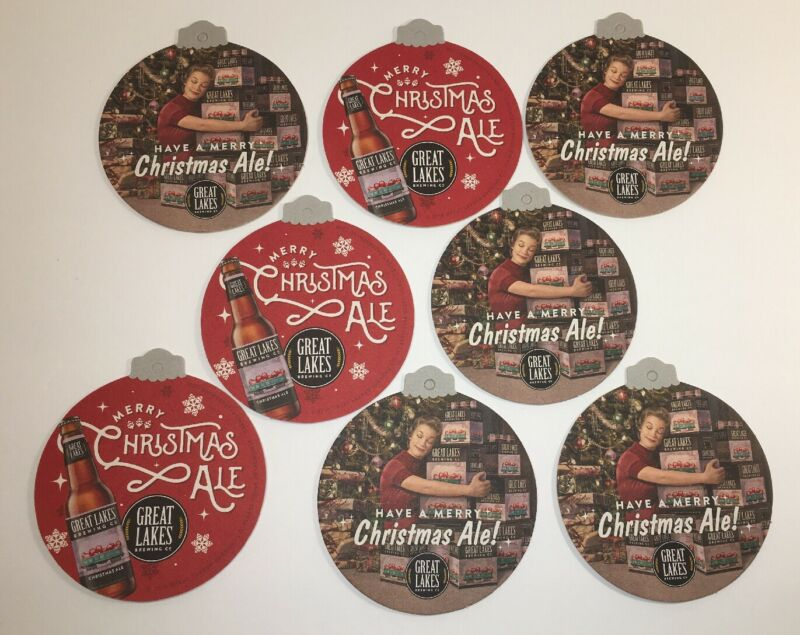 LOT Of 8 Great Lakes Brewing Beer Bar Coasters/Ornaments CHRISTMAS ALE Retro