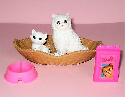 Barbie Kelly Pet CAT KITTEN Family Basket Bed Food Dish Dollhouse Play Lot #10