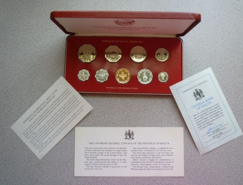 1976 MALTA - SECOND OFFICIAL PROOF SET (9) - PS2 - ORIG. PKG, COA - BEAUTY!