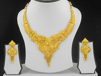 Indian Bollywood Fashion Jewelry Gold Plated Wedding Necklace Earrings New Set
