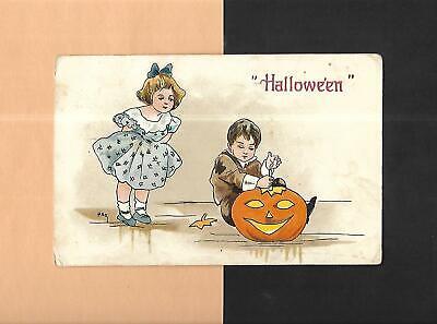 CHILDREN CARVE JACK 'O-LANTERN Colorful A/S HBG Vintage 1914 HALLOWEEN Postcard